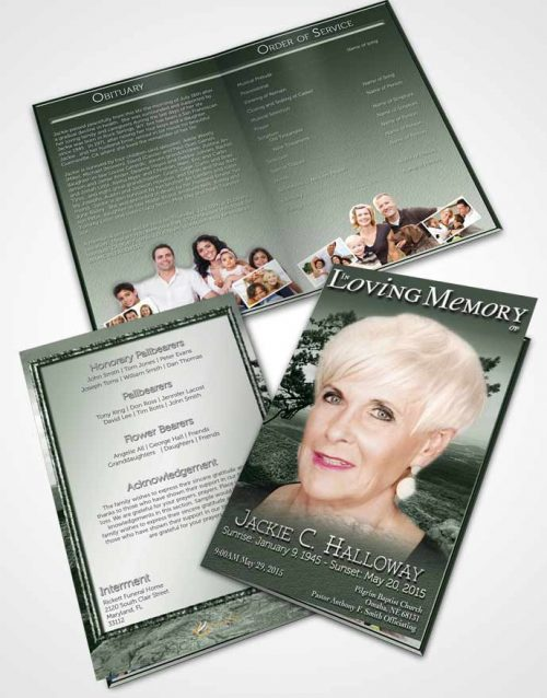 Bifold Order Of Service Obituary Template Brochure A Emerald Blissful Tree