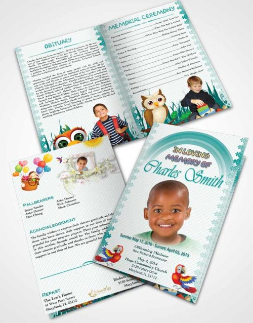 Bifold Order Of Service Obituary Template Brochure A Childs Passing Turquoise Sky