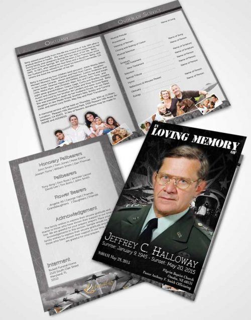 Bifold Order Of Service Obituary Template Brochure Air Force Black and White Salute.jpg