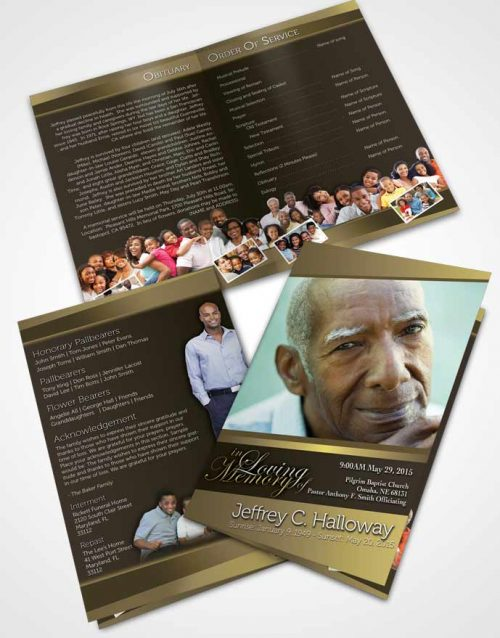 Bifold Order Of Service Obituary Template Brochure At Dusk Tranquility Dark