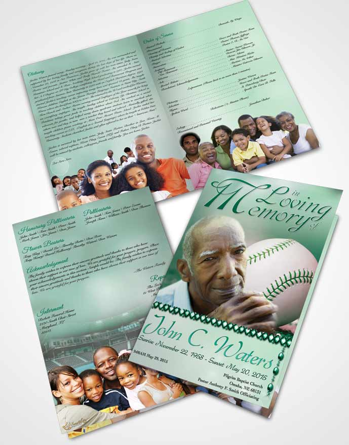 Bifold order of service obituary template brochure for Baseball brochure template