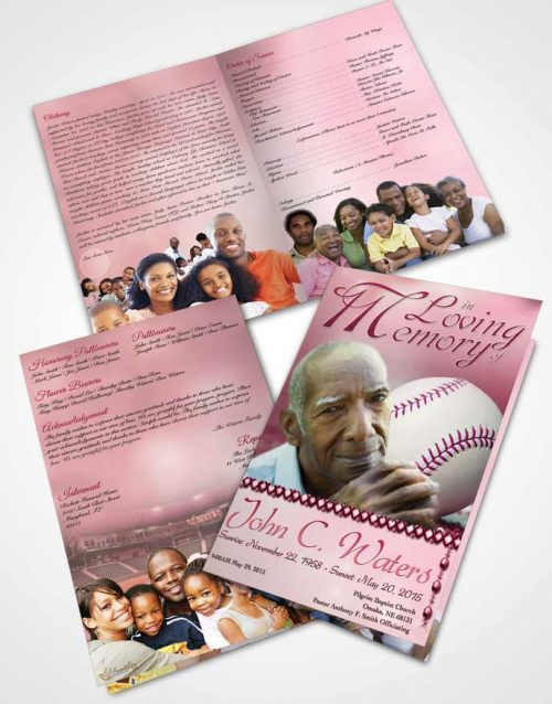 Bifold Order Of Service Obituary Template Brochure Baseball Day Pink Sunset