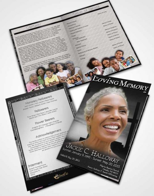 Bifold Order Of Service Obituary Template Brochure Black and White Cross in the Sky