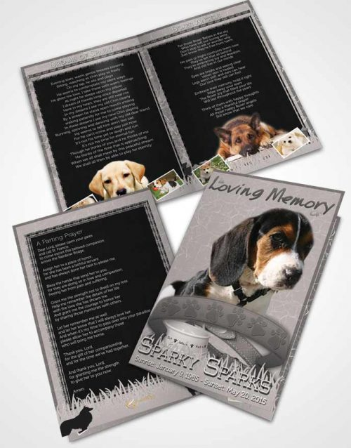Bifold Order Of Service Obituary Template Brochure Black and White Sparky the Dog