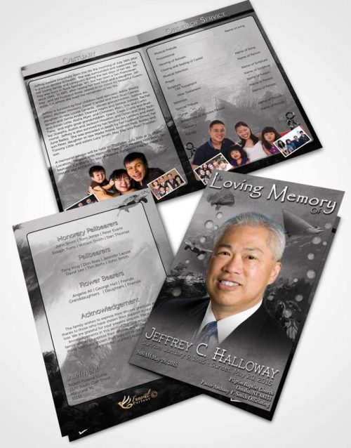 Bifold Order Of Service Obituary Template Brochure Black and White Water Lover