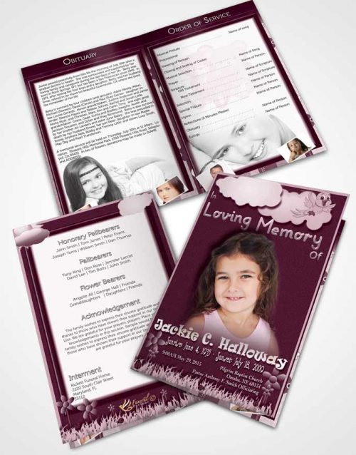 Bifold Order Of Service Obituary Template Brochure Blossoming Rose Childs Dream