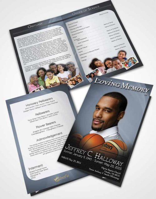 Bifold Order Of Service Obituary Template Brochure Blue Serenity Basketball Lover Light