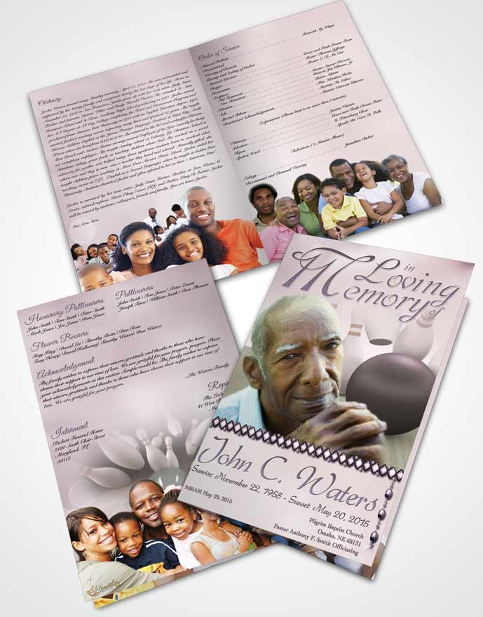 Bifold Order Of Service Obituary Template Brochure Bowling Days Autumn Sky