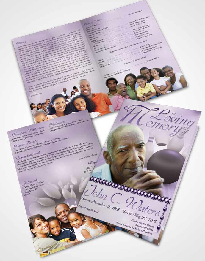 Bifold Order Of Service Obituary Template Brochure Bowling Days Lavender Honor