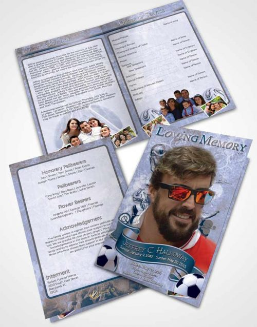Bifold Order Of Service Obituary Template Brochure Brilliant Deep Blue Ocean Soccer Superstar