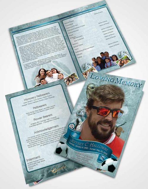 Bifold Order Of Service Obituary Template Brochure Brilliant Ocean Pearl Soccer Superstar