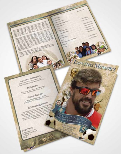 Bifold Order Of Service Obituary Template Brochure Brilliant Soft Serenity Soccer Superstar