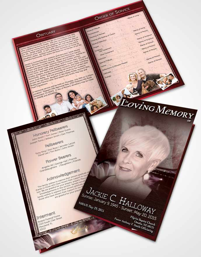 Bifold Order Of Service Obituary Template Brochure Canadian Burgundy Glow