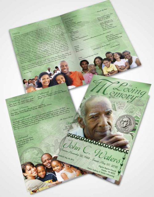Bifold Order Of Service Obituary Template Brochure Collecting Stamps and Coins Emerald Glow