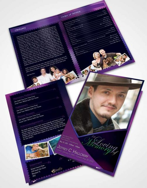 Bifold Order Of Service Obituary Template Brochure Crystal Harmony Orchid Dark