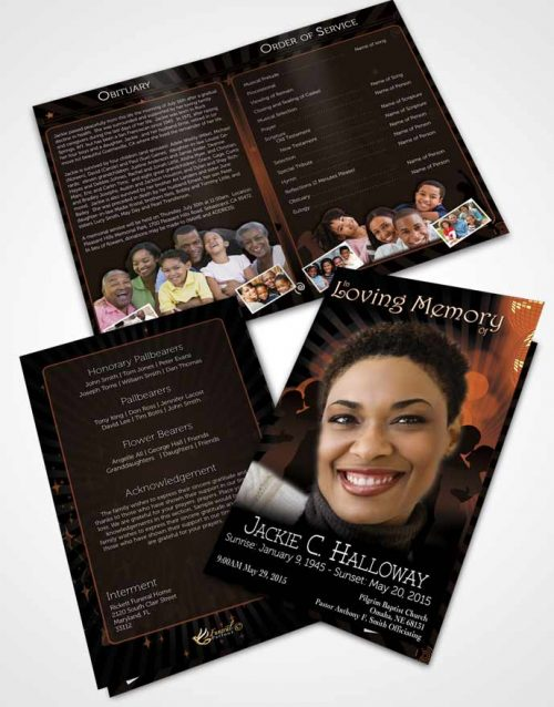 Bifold Order Of Service Obituary Template Brochure Dark Peach Graceful Dancer Dark