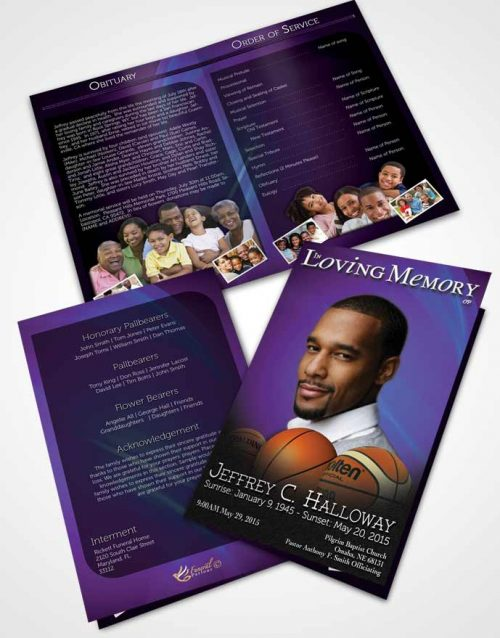 Bifold Order Of Service Obituary Template Brochure Deep Ocean Basketball Lover Dark