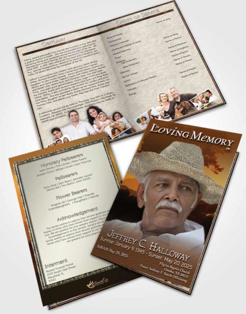 Bifold Order Of Service Obituary Template Brochure Distant Summer Horizon