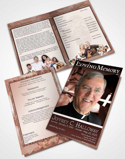Bifold Order Of Service Obituary Template Brochure Early Morning Heavenly Priest
