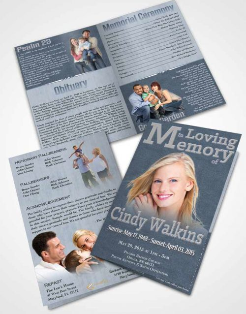 Bifold Order Of Service Obituary Template Brochure Elegant Love Fairy Mist