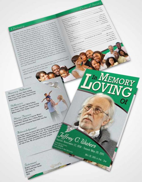 Bifold Order Of Service Obituary Template Brochure Emerald Clarity