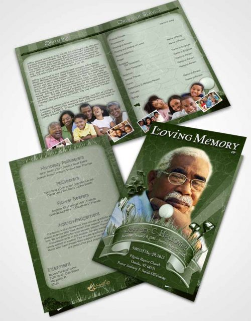 2 Page Grad Fold Funeral Program Template Brochure Emerald Golf Star