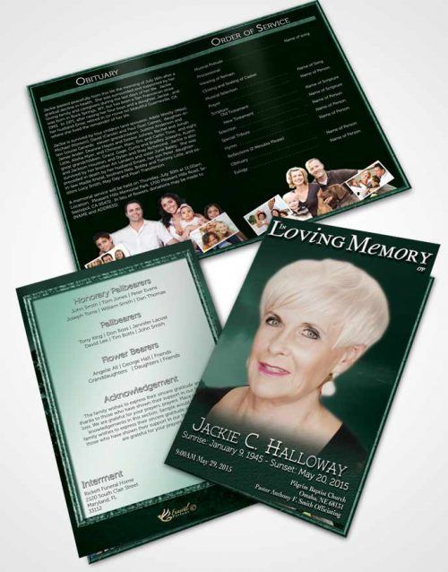 Bifold Order Of Service Obituary Template Brochure Emerald Morning Sky