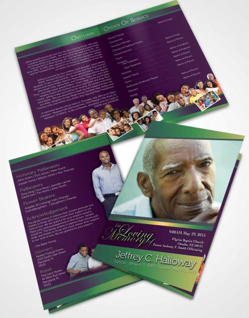 Bifold Order Of Service Obituary Template Brochure Emerald Serenity Tranquility Dark