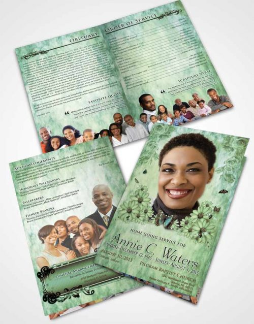 Bifold Order Of Service Obituary Template Brochure Emerald Sunny Sunflowers