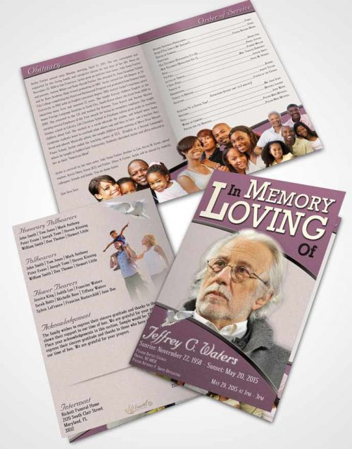 Bifold Order Of Service Obituary Template Brochure Evening Clarity