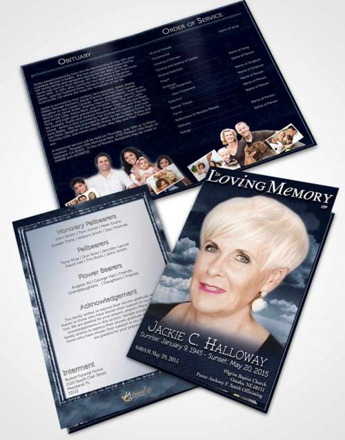 Bifold Order Of Service Obituary Template Brochure Fiery Topaz Clouds