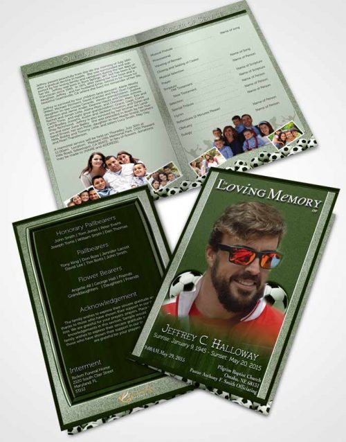 Bifold Order Of Service Obituary Template Brochure Forest Breeze Soccer Star