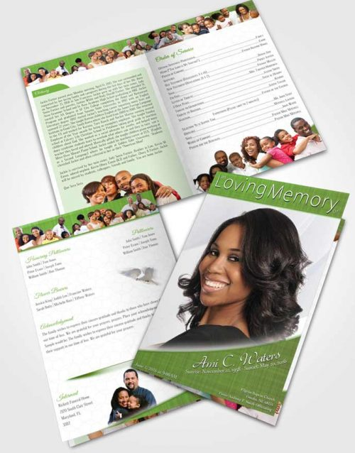 Bifold Order Of Service Obituary Template Brochure Forest Simplicity