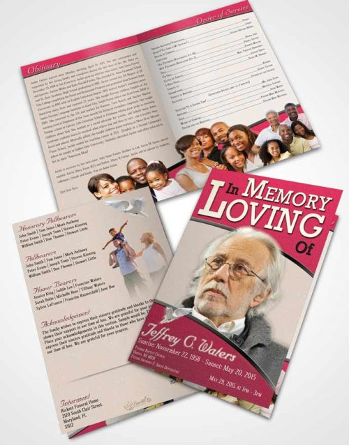 Bifold Order Of Service Obituary Template Brochure Gentle Clarity