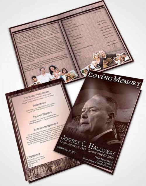 Bifold Order Of Service Obituary Template Brochure German Burgundy Honor