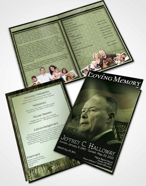 Bifold Order Of Service Obituary Template Brochure German Emerald Honor
