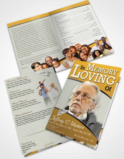 Bifold Order Of Service Obituary Template Brochure Golden Clarity