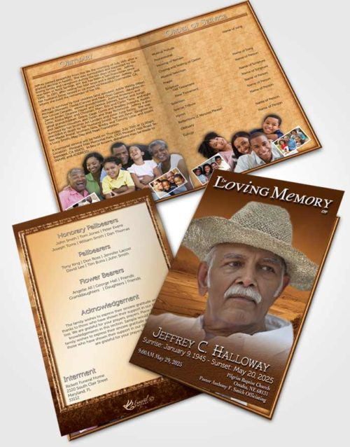 Bifold Order Of Service Obituary Template Brochure Golden Misty Mountain