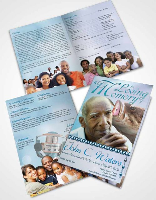Bifold Order Of Service Obituary Template Brochure Gone Fishing Turquoise Waters
