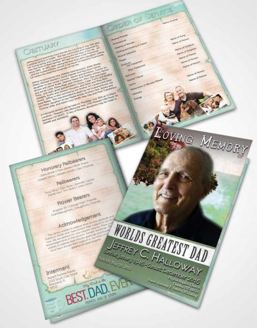 Bifold Order Of Service Obituary Template Brochure Greatest Dad Ruby Breeze
