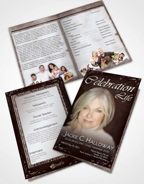 Bifold Order Of Service Obituary Template Brochure Heavens Touch Dark Rustic Desire
