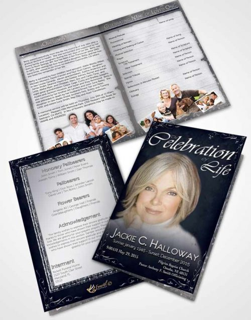 Bifold Order Of Service Obituary Template Brochure Heavens Touch Deep Ocean
