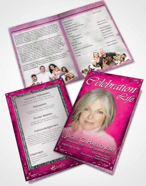 Bifold Order Of Service Obituary Template Brochure Heavens Touch Hot Pink