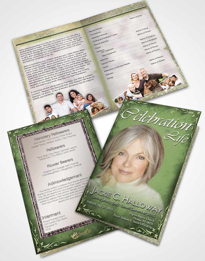 Bifold Order Of Service Obituary Template Brochure Heavens Touch Soft Emerald Mountain