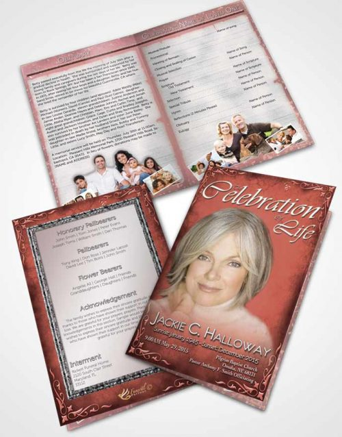 Bifold Order Of Service Obituary Template Brochure Heavens Touch Soft Ruby