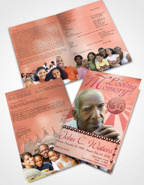Bifold Order Of Service Obituary Template Brochure Hinduism Faith Ruby Sunset
