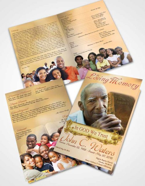 Bifold Order Of Service Obituary Template Brochure Holy Bible Golden Word