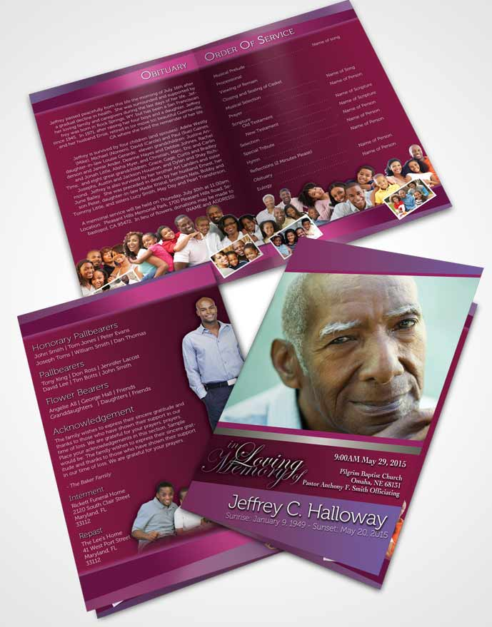 Bifold Order Of Service Obituary Template Brochure Hot Pink Majesty Tranquility Dark
