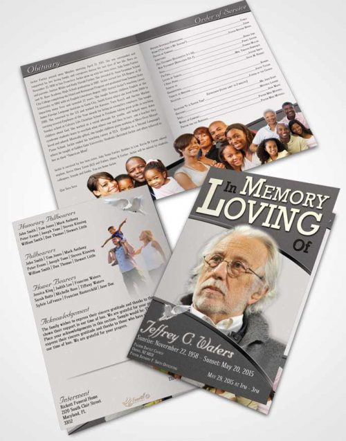 Bifold Order Of Service Obituary Template Brochure Humble Clarity