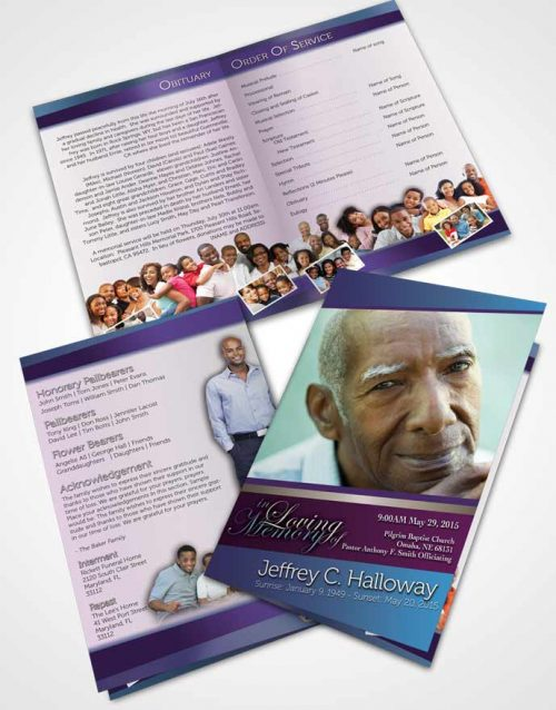 Bifold Order Of Service Obituary Template Brochure Lavender Beauty Tranquility Light